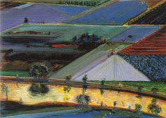Wayne Thiebaud-Farm Channel 1996 Oil on wood 10 x 14 in x cm) Private collection Images . Bay Area Figurative Movement, Pop Art Movement, Richard Diebenkorn, David Park, Wayne Thiebaud Paintings, Psychedelic Drawings, Wayne's World, Principles Of Art, Albrecht Durer