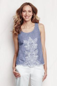 Women's Voile Embroidered Shell from Lands' End