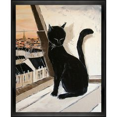 ArtistBe Atelier De Jiel 'Black cat is a Paris master' Framed Fine Art... (€75) ❤ liked on Polyvore featuring home, home decor, wall art, cat, art, backgrounds, black, vertical paintings, outdoor wall art and black wall art