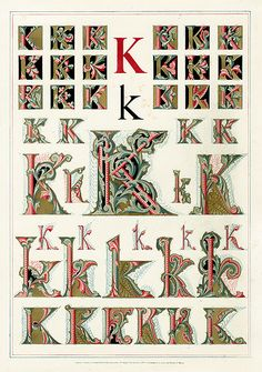 Owen Jones Illuminated Letters, gilt prints of the alphabet from 1864 How To Write Calligraphy, Calligraphy Letters, Islamic Calligraphy, Illuminated Letters, Illuminated Manuscript, Monogram Letters, Letters And Numbers, Owen Jones, Celtic Art