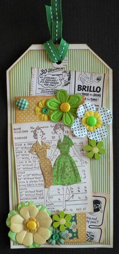 Tag, dress pattern, flowers, green & yellow