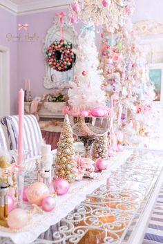 Jennifer Hayslip Christmas home tour Pink Christmas Decorations, Elegant Christmas Decor, Shabby Chic Christmas, Christmas Tablescapes, Christmas Mantels, Candy Land Christmas, Pink Christmas Tree, Retro Christmas, Christmas Colors