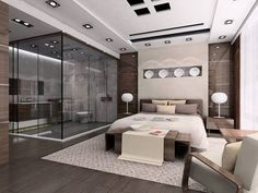 apartments amazing luxury apartment bedroom design with glass modern bathroom and brown wall scheme with wooden furniture area rug and wooden flooring with - Bathroom In Bedroom Design