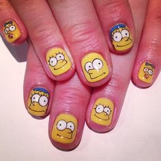 Need some nail design inspiration for your nails? Chic and fun nail designs! Explore top 30 crazy nail art designs you would love to try! Crazy Nail Art, Cool Nail Art, Cute Nails, Pretty Nails, Nailart, Simpsons Art, Cute Nail Art Designs, Cartoon Nail Designs, Toenails