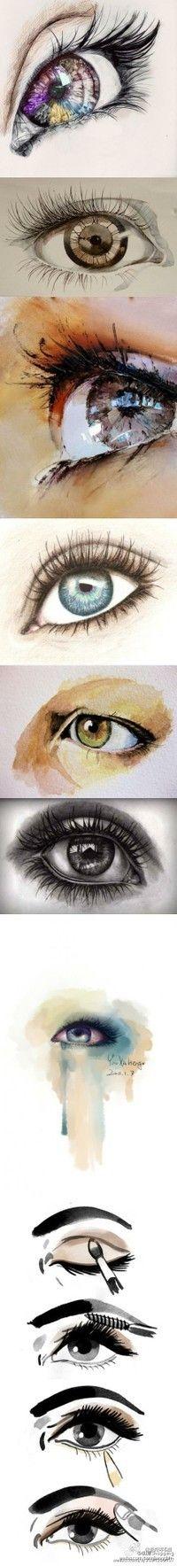 eye art for the new office. Eye Art, Drawing Techniques, Art Tips, Art Tutorials, Drawing Tutorials, Painting & Drawing, Drawing Eyes, Eyeball Drawing, Amazing Art