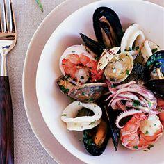 Mixed Seafood Salad (Insalata ai Frutti di Mare) Recipe - Sunset magazine has some of the BEST recipes. Calamari Recipes, Shrimp Recipes Easy, Seafood Recipes, Pasta Recipes, Seafood Dishes, Grilled Seafood, Seafood Salad, Grilled Mussels, Italian Dinner Menu