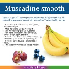 Can bananas be helpful in combating fibromyalgia symptoms. Recent research suggests it could. Check out fibro days muscadine smoothine recipe Healthy Smoothies, Healthy Drinks, Healthy Recipes, Juice Recipes, Healthy Foods, Fibromyalgia Diet, Fibromyalgia Disability, Banana Is Rich In, Healthy Life
