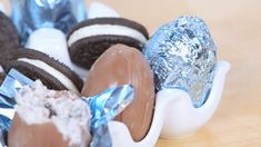 DIY your own creme eggs at home! News about the Cadbury Oreo Creme Egg has been all over the internet, but trying to get your hands on one is another story. Luckily for you, we whipped up our Yummy Treats, Delicious Desserts, Sweet Treats, Yummy Food, Oreos, Chocolate Candy Cake, Baking Recipes, Dessert Recipes, Popsugar Food