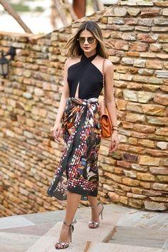 Confira dicas de como transformar seu panneau ou lenço em saias, blusas e vestidos.