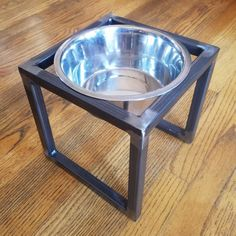 This handcrafted pet feeder elevates your pets food/water to a more comfortable level. It features 1 removable stainless steel bowl of 2 quart capacity. The frame is fully welded and has a clear coat. Dog Bowl Stand, Stainless Steel Bowl, Pet Feeder, Steel Metal, Metalworking, Dog Bowls, Your Pet, Pets, Coat