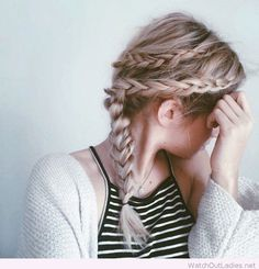 Lovely double braid on side of head