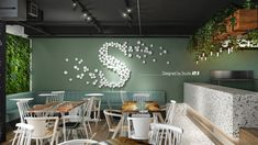 S Café – Bar design with green walls, curved wood, rough wood – Coffee shop design – Industrial Design Studio Rough Wood, Curved Wood, Coffee Shop Design, Cafe Interior, Green Walls, Cafe Bar, Industrial Design, Minimalism, Branding