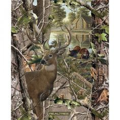 Deer & Turkey Panel - Real Tree Nature Camo- by Sykel, Inc. - 100% Cotton High Quality Fabric by QuiltsOnTheFly on Etsy