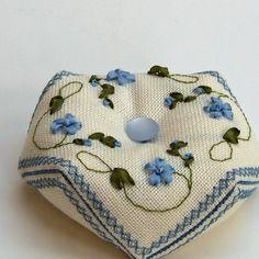 Periwinkle - Biscornu pattern, silk ribbon embroidery. $4.00, via Etsy.