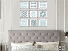 Light Blue Grey Large Wall Art Set of Prints • Abstract Art Set of 9 Prints