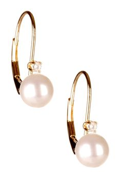 14K Yellow Gold 6-6.5mm White Cultured Pearl & Diamond Earrings