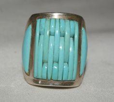 mosaic inlay turquoise ring