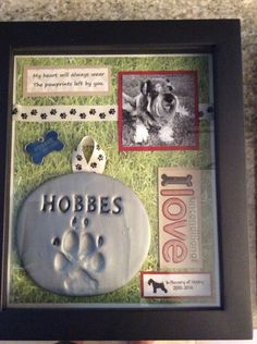 Shadow box in memory of my sweet Hobby Dog. Such a good boy. Shadow box in memory of my sweet Hobby Dog. Such a good boy.,hund Shadow box in memory of my sweet Hobby. Dog Crafts, Animal Crafts, I Love Dogs, Puppy Love, Dog Shadow Box, Pet Loss Grief, Dog Memorial, Memorial Ideas, Pet Remembrance