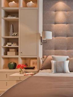 The Bryant – Terrat Elms Interior Design. love the whole built-in with upholstered headboard on wall, lighting, pull-out bedside tray, etc.