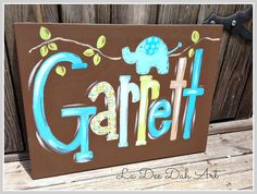 Hand Painted Personalized Wall Art, Chocolate Brown, Turquoise, Boy, Elephant, Canvas, Modern, Name Plaque, Sign, Nursery Art