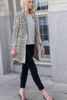 patterned jacket with classic neutral pieces