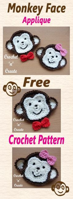 Free crochet pattern for monkey face appliqué. #crochet