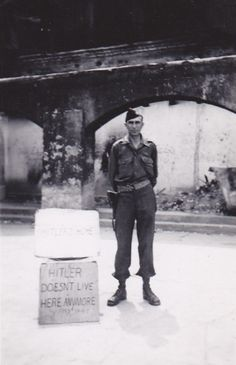 A paratrooper of the 101st Airborne Division at the Kehlsteinhaus, or Eagle's Nest, once belonging to Adolf Hitler; Berchtesgaden, Germany - May 1945