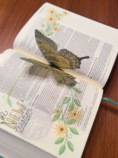"""Butterfly stamp on vellum (colored pencils) folded in half and secured in spine to flutter when opened to that page! """"Grateful Bunch"""" for stamping on Bible pages."""