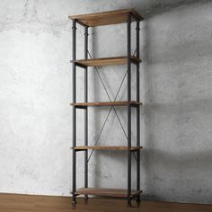 The Myra Vintage Industrial Modern Rustic Bookcase has a weathered and timeworn…