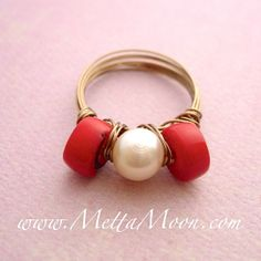 MettaMoon Coral & Pearl Love Ring $18 SIZE: 11.5 All sizes available. www.MettaMoon.com