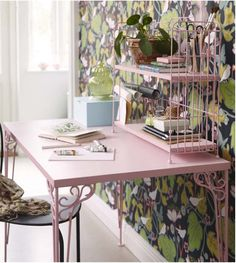 Poppytalk: Happy Friday and A Few New Things from IKEA - perhaps not in pink, buy I love the conservatory feel of the scrolls and that wallpaper!