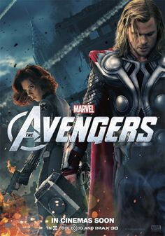 Movie poster The Avengers. Thor and Black Widow.