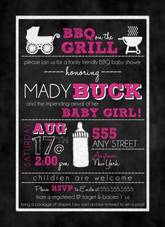 Chalkboard BBQ Baby Shower Invitation (Girl or Boy Colors) on Etsy, $15.00