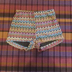 High waisted pattern shorts Colorful pattern high waisted shorts. Fully lined holey detail. Unworn Show Me Your MuMu Shorts