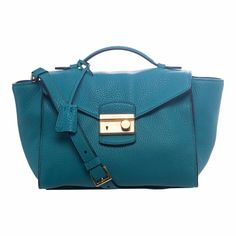 This turquoise twin pocket satchel from Prada is a simple way to add color and class to your ensemble. Featuring goldtone hardware, an optional shoulder strap, and a logo jacquard lining, this satchel is stylish yet functional.