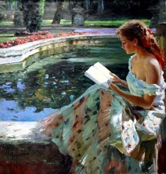 Vladimir Volegov  -  Really like paintings of women reading...I fear it is becoming a lost art, talent, or skill...how much will be lost.