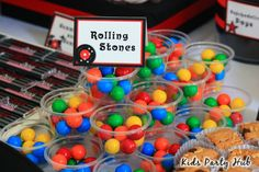 M&Ms- Rolling Stones  black & red rockstar party | Kids Party Hub: Rockstar Themed Candy and Dessert Table