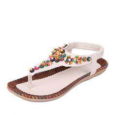 b742d274767381 JUST MODEL Womens Summer Bohemia Flower Beaded Flipflop Sandals 8 BM US Tan     Want