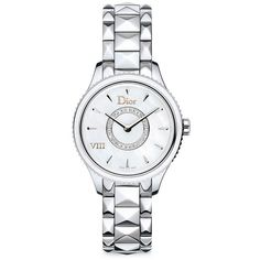 Dior VIII Montaigne Diamond, Mother-Of-Pearl & Stainless Steel... ($4,625) ❤ liked on Polyvore featuring jewelry, apparel & accessories, silver, water resistant watches, diamond bracelet, roman numeral watches, diamond watches and bracelet watches