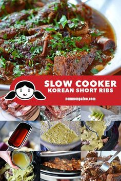 Slow Cooker Korean Short Ribs - Nom Nom Paleo® - This slow cooker Korean Short Ribs dish is pretty much a dump-it-in-and-forget-about-it kind of dis - Paleo Crockpot Recipes, Rib Recipes, Whole 30 Recipes, Cooker Recipes, Asian Recipes, Asian Desserts, Recipies, Dinner Recipes, Crockpot Ideas