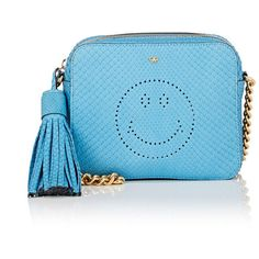 Anya Hindmarch Women's Smiley Crossbody Bag (67.190 RUB) ❤ liked on Polyvore featuring bags, handbags, shoulder bags, blue, chain shoulder bag, leather cross body purse, blue shoulder bag, blue leather purse and leather handbags
