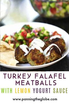 These Turkey Falafel Meatball are super healthy and the most flavorful and tender turkey meatballs! Made with Ground Turkey, Chickpeas and Middle Eastern Spices. [gluten-free option] #TurkeyMeatballs #HealthyMeatballs Healthy Meatballs, Turkey Meatballs, High Protein Recipes, Healthy Recipes, Healthy Meals, Lemon Yogurt, Best Comfort Food, Comfort Foods, Dinner Salads