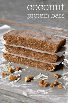 This coconut protein bar recipe is so delicious, and it's very easy to make. You just need 4 basic ingredients to put together this higher protein snack. All clean eating ingredients are used for these healthy protein bars. Pin now to make later! High Protein Snacks, Low Carb Protein Bars, Protein Bar Recipes, Healthy Bars, Protein Foods, Healthy Sweets, Snack Recipes, Home Made Protein Bars, Protein Cake