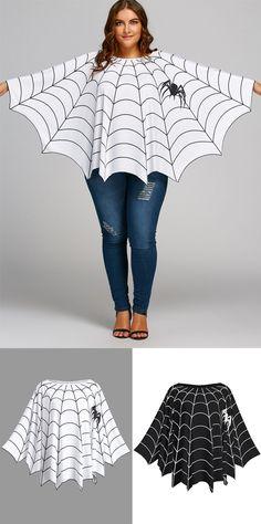 Halloween Spider Web Print Plus Size Poncho Blouse