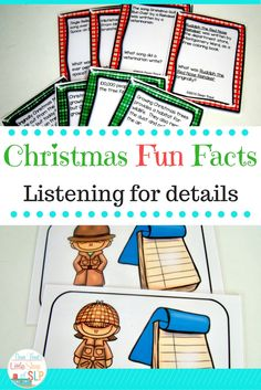 Speech Language Therapy -Use these cards to target auditory comprehension- listening skills for details. You can make 48 individual fun fact cards about Christmas and a fun motivational game.