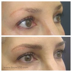 Before and after - reworking an old tattoo with microblading