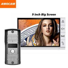 2016 Nueva pantalla grande de 9 pulgadas de pantalla color video de la puerta teléfono sistema de intercomunicación timbre de la cámara de vídeo monitores de intercomunicación timbre de la puerta vídeo