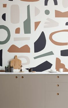 The Naive Shapes wallpaper collection is inspired by Matisse cutouts, featuring trending colours and refreshing cutout shapes. The wallpapers have a m. Unusual Wallpaper, Normal Wallpaper, Standard Wallpaper, How To Hang Wallpaper, Modern Wallpaper, Matisse Cutouts, Kitchen Wall Design, Wallpaper Collection, Home Decor Ideas