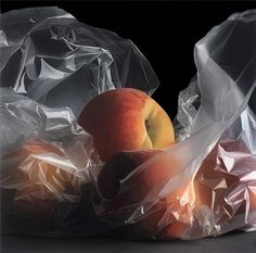 Peaches - Pedro Campos, oil on canvas {contemporary artist #hyperreal fruit still life photorealism painting}
