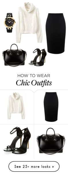 """""""Chic look winter"""" by fiona-roger on Polyvore featuring Alexander McQueen, Givenchy, Versace, women's clothing, women's fashion, women, female, woman, misses and juniors"""